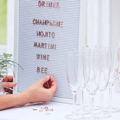 Peg board with Copper letters