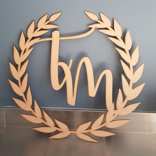 Monogram Name Wooden Sign