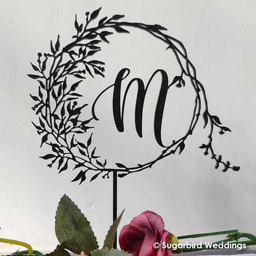 Foliage monogram cake topper