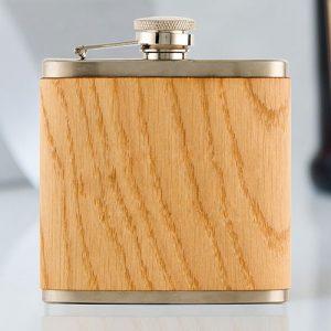 Oak Wood Wrapped Hip Flask