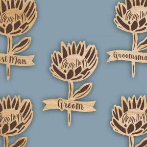 Lasercut Wooden Protea Badge