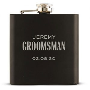 Black Personalised Gift Flask