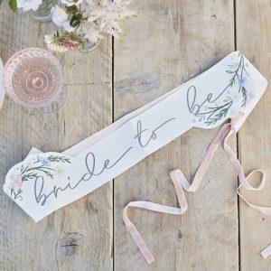 Bride To Be Floral Sash